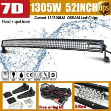 7D 52INCH 1305W OSRAM LED CURVED LIGHT BAR Tri-Row fit for JEEP Ford SUV 4X4 50""