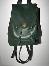 Vtg COACH USA 9960 Forest Green Leather Turnlock Drawstring Backpack Bag Purse