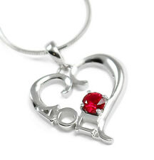 Alpha Omicron Pi sterling silver heart pendant with Swarovski red crystal AOII