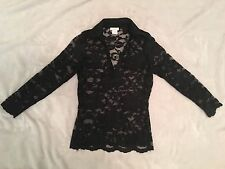 NEW CACHE LADIE'S WOMEN'S SEXY TOP BLOUSE BLACK FLORAL LACE SZ X SMALL NWOT