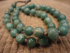 Jade Beaded Necklace 40 graduating Beads Gold wire knots Early 1900's Vintage