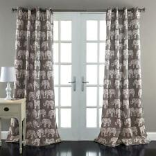 SET OF 2 GRAY EXOTIC GLOBAL ELEPHANT ROOM DARKENING WINDOW CURTAINS 84""