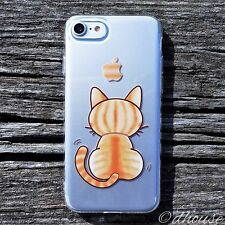 MADE IN JAPAN Soft Clear TPU Case Cute Cat for iPhone 7