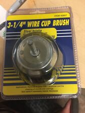 """lot of 3 Harbor Freight 3-1/4"""" wire cup brush steel bristle shank size 1/4"""""""