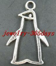 25pcs Tibetan Silver Penguin Frame Charms 43x28mm 12437