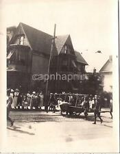 Vintage WWI Era Photo Military Parade Soldiers By Old Biplane Airplane Aircraft