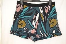 STUNNING MULTI COLOURED STRETCH FLORAL PRINT TOPSHOP CUFFED SHORTS UK 14