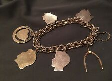 "12K Gold Filled BRACELET 6 Charms  7""  with Safety Chain VINTAGE"