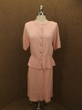 Classy Mature Vintage Dusty Rose Knit Sweater & Skirt Dress 6P Shapely Fit EUC