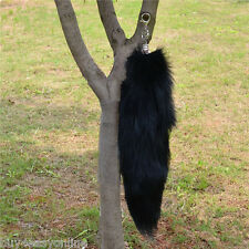 Large Black Natural Genuine Fox Tail Fur Tassel Bag Tag Accessory Charm keyring