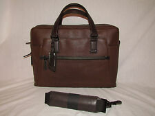 Tumi 68530 Vernon Slim Leather Men Womens Briefcase Brown Laptop Bag Carryon Vtg