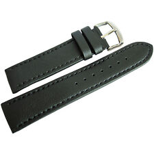 22mm Hadley-Roma MS739 Mens Black Lorica Vegan Faux Leather Watch Band Strap