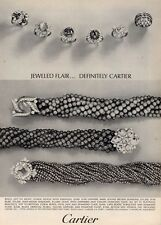 1964 Cartier Emeralds Sapphires Diamonds Bracelets Rings  PRINT AD