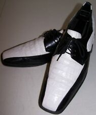 STACY ADAMS Black & White Oxfords Sz 11M Leather Uppers & Soles Faux-Alligator