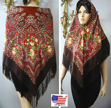 "Russian Ukrainian  Shawl Floral w/Fringes 55""/140cm  Brown Wool #101-5"