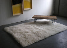 "STYLISH  5'x 7' NATURAL WHITE FLOKATI SHAG RUG/ PLUSH 3.25"" SHAG PILE/ 100% WOOL"