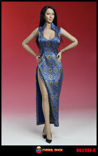 SUPER DUCK 1/6 Blue Women's Dress Cheongsam F Phicen Female Figure Body C009-A