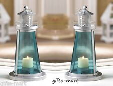 "2 BLUE nautical LIGHTHOUSE statue 10"" Candle holder Lantern light outdoor patio"