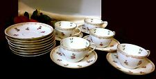 LIMOGES T&V FRANCE Signed Hand Paint 22K Gold 5 Tea Cup & 13 Saucer Set  100 Yrs