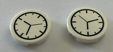 *NEW* 2 Pieces Lego White Round Tile 2x2 with CLOCK Pattern