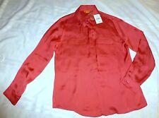 Joe Fresh Womens Blouse Button Shirt M NWT Dark Coral Solid Long Sleeve Collar