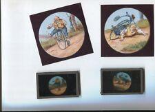 vélo grand bi ; 2 plaques de verre couleur d'époque inconnu