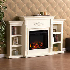 MFP44058 IVORY ELECTREC FIREPLACE WITH 2 SIDE BOOKCASES