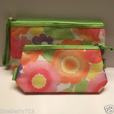 CLINIQUE Floral Print Cosmetic Makeup Bag Set  Zipper Pouch (1 Large + 1 Small )