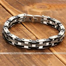 9mm Mens Silver Black Stainless Steel Link Chain Bracelet Cuff Wristband Bangle