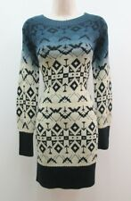 Jessica Simpson Blue Multicolor Long Sleeve Work Casual Sweater Dress New M