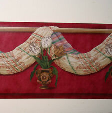 Victorian Red Swag Drapery Valance Urn Vase Tulip LARGE Wallpaper Border 20.625""