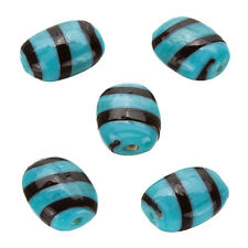 Striped Turquoise Flat Barrel Glass Beads 18x14mm Pack of 5 (B19/1)