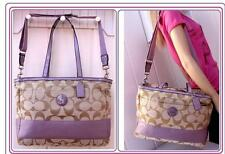 $280 COACH KHAKI LILAC diaper baby shoulder bag handbag satchel strap  F17443