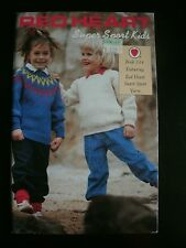 Red Heart Super Sport Kids #334 1988 Coats & Clark's Knitting Patterns Sweaters