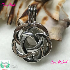 Silver Pearl Cage Pendant- Blooming Flower Fun Gift!!