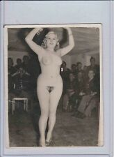 Antique 1940s WWII Nude PHOTOGRAPH Eastern European STRIPPER Soldiers Binoculars