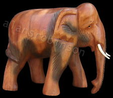 "Carved wooden elephant 6"" animals carvings thai elephants"
