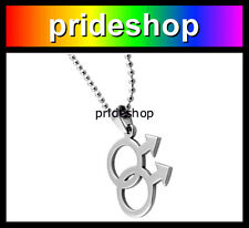 Male Stainless Steel Pendant With Ball Chain Necklace Gay Pride #414
