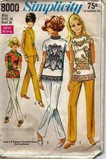 Simplicity Sewing Pattern 8000 Misses' Blouse Stove-Pipe Pants Size 16 VTG 60's