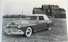 """12 By 18"""" Black & White Picture 1947 Lincoln Continental Convertible, top up"""