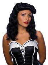 Womens Car Hop Wig 40s 50s Rockabilly Bouffant Long Black Flapper Hair Burlesque