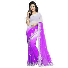 Karishma Designer's Purple Shaded Faux Chiffon Embroidered Sari With Blouse