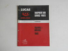 LUCAS Parts List 1968 VAUXHALL BEDFORD cars and commercials