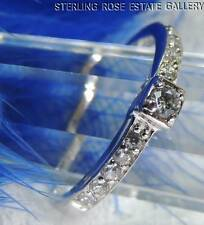 CUBIC ZIRCONIA Thin Sterling Silver 0.925 Estate Engagement Band RING size 7