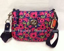 Coach 48940 Poppy Flower Swingpack Crossbody Bag NAVY Blue Pink Fuchsia NWT Rare