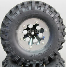 Scale RC Truck WHEELS RIMS METAL 1.9 BeadLock w/ KNOBBY Tires (2pc) Black