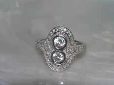 Estate 925 Marked Two Small Headlights Clear Rhinestone Encrusted Art Deco