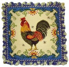 French Country Rooster Blue Edge Needlepoint Pillow Ball Fringe 20 x 20