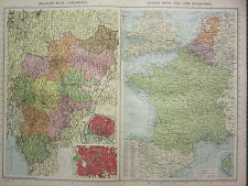 1940 MAP ~ BELGIUM WITH LUXEMBURG ~ FRANCE NETHERLANDS BRUSSELS ANTWEP
