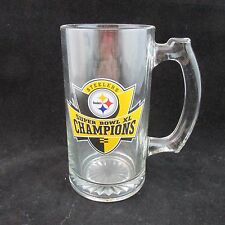 NFL Steelers Super Bowl XL Champions  Clear Glass Beer Mug
